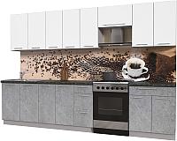 Готовая кухня Интерлиния Мила Пластик 3.2 А (мрамор/белый глянец/кастилло темный) -