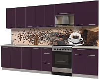 Готовая кухня Интерлиния Мила Пластик 3.2 А (слива глянец/опал светлый) -