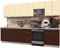 Готовая кухня Интерлиния Мила Пластик 3.2 А (шоколад глянец/ваниль глянец/опал светлый) -