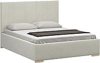 Полуторная кровать Woodcraft Шерона 140 вариант 3 (белый бархат) -