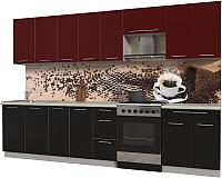 Готовая кухня Интерлиния Мила Пластик 3.2 А (черный глянец/бордо глянец/опал светлый) -
