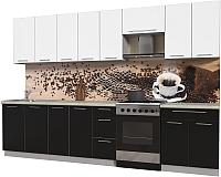 Готовая кухня Интерлиния Мила Пластик 3.2 А (черный глянец/белый глянец/опал светлый) -