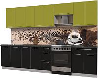 Готовая кухня Интерлиния Мила Пластик 3.2 А (черный глянец/оливковый глянец/кастилло темный) -
