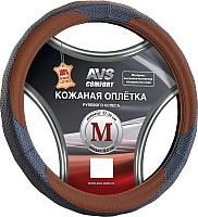 Оплетка на руль AVS GL-910M-BBR / A78671S (M, черный-коричневый) -