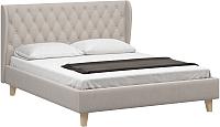 Двуспальная кровать Woodcraft Грац-Н 160 вариант 5 (светлый велюр) -
