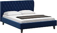 Двуспальная кровать Woodcraft Грац-Н 180 вариант 1 (бархат черный сапфир) -