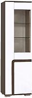 Шкаф-пенал с витриной SV-мебель Гостиная Нота 25 Ж (дуб венге/жемчуг) -