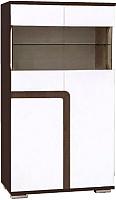 Шкаф с витриной SV-мебель Гостиная Нота 25 Ж малая (дуб венге/жемчуг) -