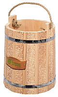Ведро деревянное Банные Штучки Цветы / 33427 (9л) -