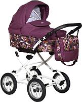 Детская универсальная коляска INDIGO Blues 20 Classic 2 в 1 (BI 34, бордовый/бордовый узор) -