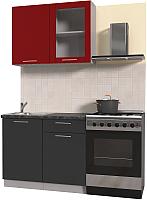 Готовая кухня Интерлиния Мила Пластик 1.0 Б (антрацит глянец/красный глянец/кастилло темный) -