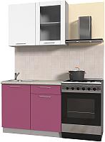 Готовая кухня Интерлиния Мила Пластик 1.0 Б (гортензия глянец/белый глянец/опал светлый) -