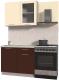 Готовая кухня Интерлиния Мила Пластик 1.0 Б (шоколад глянец/ваниль глянец/опал светлый) -
