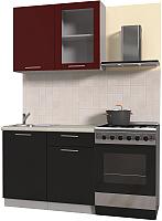 Готовая кухня Интерлиния Мила Пластик 1.0 Б (черный глянец/бордо глянец/опал светлый) -