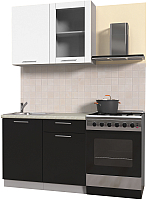 Готовая кухня Интерлиния Мила Пластик 1.0 Б (черный глянец/белый глянец/опал светлый) -