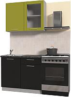 Готовая кухня Интерлиния Мила Пластик 1.0 Б (черный глянец/оливковый глянец/кастилло темный) -