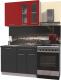 Готовая кухня Интерлиния Мила Пластик 1.1 Б (антрацит глянец/красный глянец/кастилло темный) -