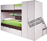 Двухъярусная кровать детская Мебель-КМК Бамбино 3-1 0527 (дуб атлант/дуб кентерберри) -