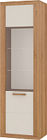 Шкаф с витриной Заречье Бостон БС-2 (дуб ривьера/жемчуг глянцевый) -