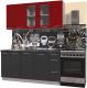 Готовая кухня Интерлиния Мила Пластик 1.7 Б (антрацит глянец/красный глянец/кастилло темный) -