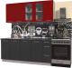 Готовая кухня Интерлиния Мила Пластик 1.9 Б (антрацит глянец/красный глянец/кастилло темный) -