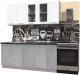 Готовая кухня Интерлиния Мила Пластик 1.9 Б (мрамор/белый глянец/кастилло темный) -