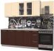 Готовая кухня Интерлиния Мила Пластик 1.9 Б (шоколад глянец/ваниль глянец/опал светлый) -