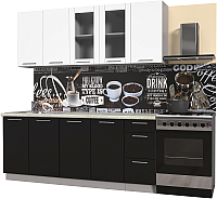 Готовая кухня Интерлиния Мила Пластик 2.0 Б (черный глянец/белый глянец/опал светлый) -