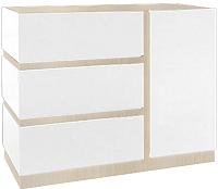 Тумба Мебель-КМК Хилтон 1Д3Я 0651.3 (дуб санома/белый глянец) -