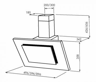 Вытяжка декоративная Zorg Technology Вертикал А (Titan) 750 (90, белый) - схема