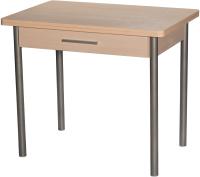 Обеденный стол Древпром М20 90x60 с ящиком (металлик/дуб светлый) -
