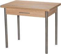 Обеденный стол Древпром М20 90x60 с ящиком (металлик/дуб сонома) -