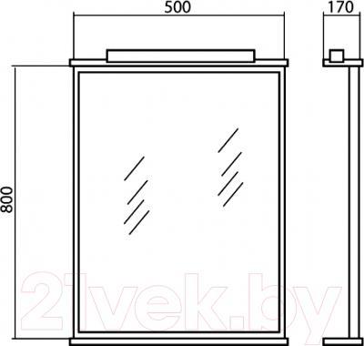 Зеркало Аква Родос Декор 50 / ОР0000558 - размеры
