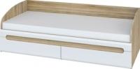 Односпальная кровать Мебель-Неман Леонардо МН-026-12 (белый полуглянец/дуб Сонома) -