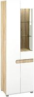 Шкаф-пенал с витриной Мебель-Неман Леонардо МН-026-01/1 (белый полуглянец/дуб Сонома) -
