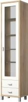 Шкаф-пенал с витриной Мебель-Неман Домино Сонома ВК-04-02 (белый полуглянец/дуб Сонома) -