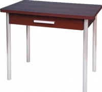 Обеденный стол Древпром М20 90x60 с ящиком (металлик/орех) -