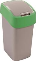 Мусорное ведро Curver Flip Bin 02170-P80-00 / 190172 (10л, серебристый/зеленый) -