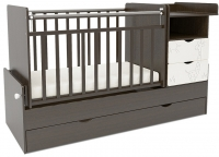 Детская кровать-трансформер СКВ Жираф / 550038-1 / 550048-1 (венге/белый) -
