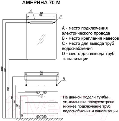 Тумба под умывальник Акватон Америна 70 М (1A169001AM950)