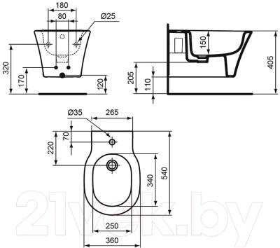 Биде подвесное Ideal Standard Connect Air E026601