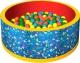 Игровой сухой бассейн Romana Веселая полянка ДМФ-МК-02.51.01 (150 шариков, синий/красный) -