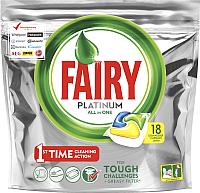 Капсулы для посудомоечных машин Fairy Platinum All in One Лимон (18шт) -