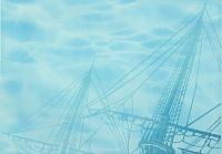 Элемент панно Березакерамика Лазурь корабль 1 бирюзовая (250x350) -