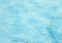 Элемент панно Березакерамика Лазурь корабль 3 бирюзовая (250x350) -