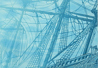 Элемент панно Березакерамика Лазурь корабль 4 бирюзовая (250x350) -
