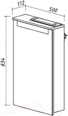 Шкаф с зеркалом для ванной Belux Сонет-Сити ВШ50 (правый)