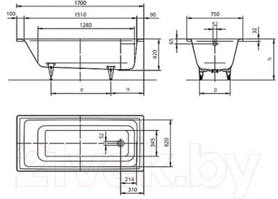 Ванна стальная Kaldewei Puro 652 170x75 (antislip)