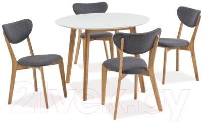 Обеденный стол Signal Mosso II 100x100 (белый/дуб)