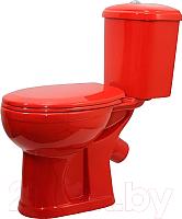 Унитаз напольный Оскольская керамика Дора (красный, с гофрой) -